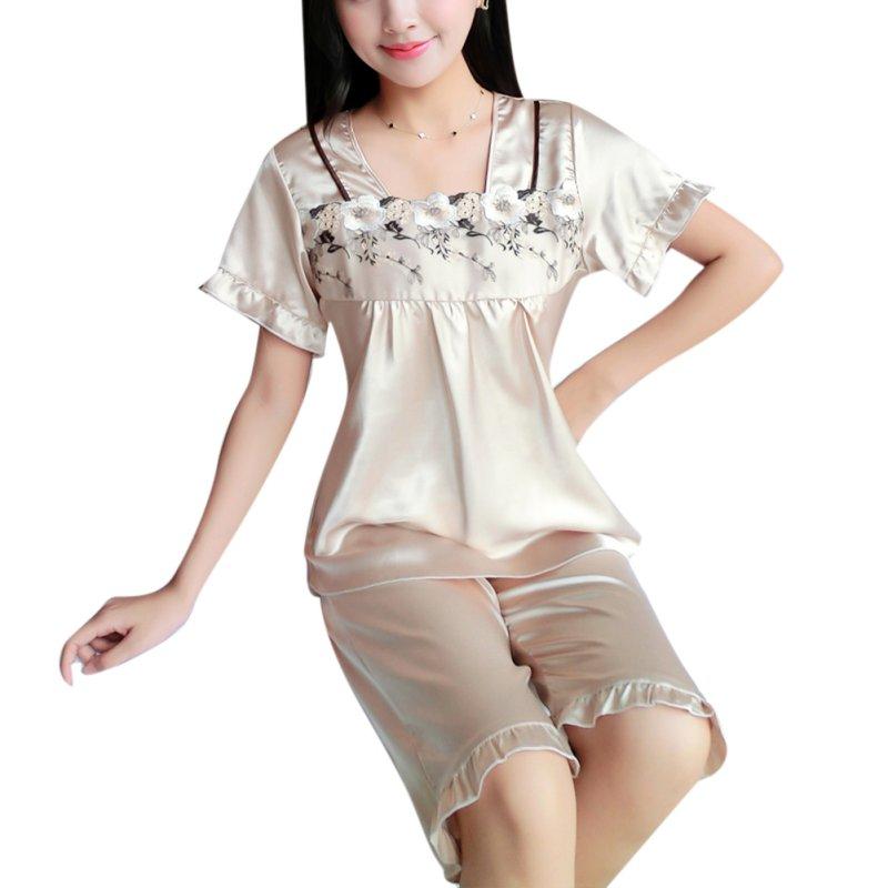 Hot Sexy Women Casual Tops + Knee Length Pants Underwear Sleepwear Nightwear Pyjama Set 2 PcsCY2