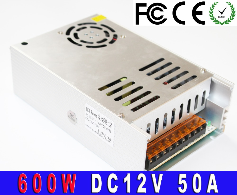 DC12v 600w Power Supply New Arrival 50A LED Driver Charger For LED Strip Light CNC 3D Print Transformer 220V 110V Ac To Dc UPS(China (Mainland))