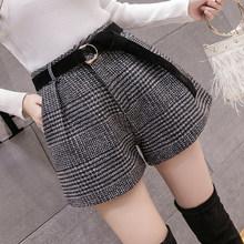2019 neue Herbst Winter Wolle Shorts Frauen Koreanische Hohe Taille Plaid Breite Bein Shorts Femme Casual Lose Stiefel Shorts(China)