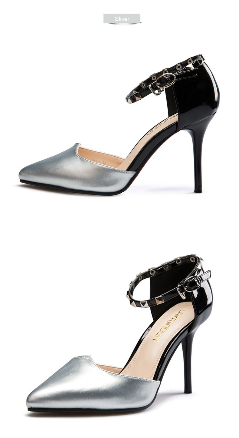 New Design Thin High Heels Pointed Toe Buckle Sexy Women Pumps Red Bottom Wedding Party Shoes For Women Beige Sliver ZM2.5