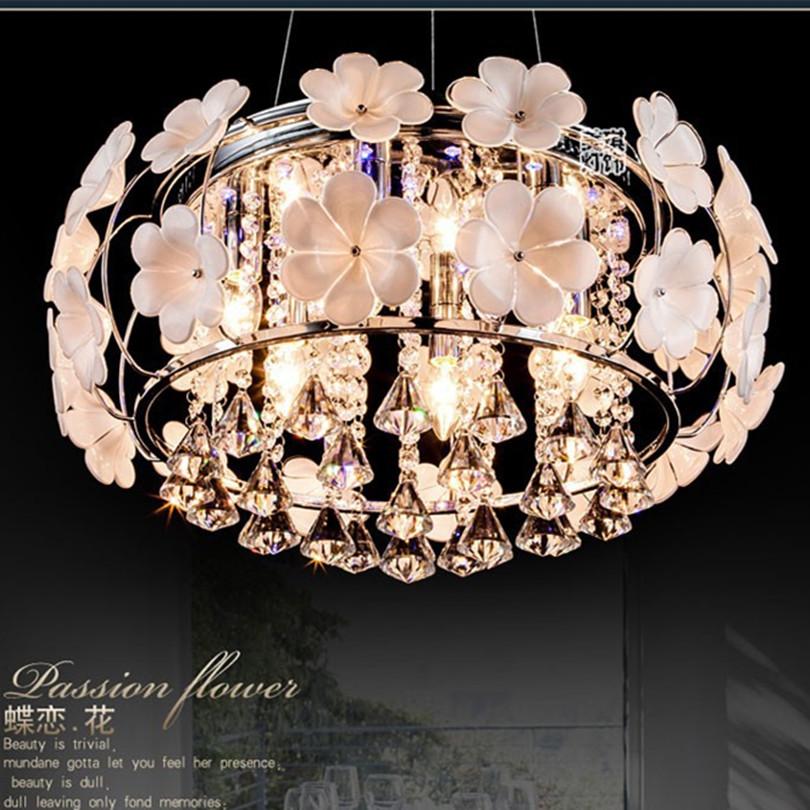 2015 Milk White 3D Ceramic Flower Ceiling Light Modern Simple LED Ceiling Light Bright K9 Crystal Ceiling Light(China (Mainland))