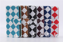 Grid Tartan plaid two-in-one PU Leather Wallet Protective Case Flip Cover for iphone 5g 5s Card holder CNPAM Shipping