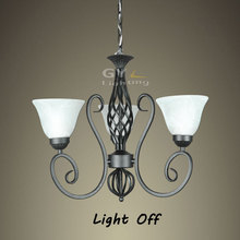 Luxury Rustic Wrought Iron Chandelier E27 bulb luz pingente Black Vintage white glass Lampshade For Home store light GY-YLB-D307(China (Mainland))