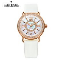 Reef Tiger/RT Elegant Charms Ladies Watches for Women with Swiss Quartz Crystal Diamonds Silk Mix Leather Strap Watch RGA1563