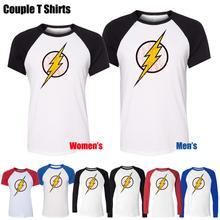 DC. Comic the Flash Symbol Super Hero Design Printeds T-Shirt Men's Boy's Graphic Tee Tops Blue or Black Sleeve