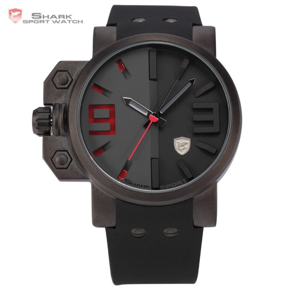 Salmon SHARK Series Stainless Steel Case Black Red Dial Japan Movement Rubber Band Men Sport Quartz Casual Military Watch /SH172(China (Mainland))
