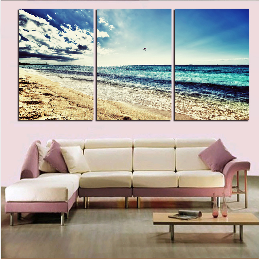 3 Panels No FrameSandy Beach Painting Canvas Wall Art Picture Home Decor Living Room Print Modern Olivia