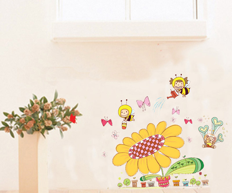 Free Shipping High Quality Plant Sunflower Cartoon Bee Decorative Murals Sticker For Wall(China (Mainland))
