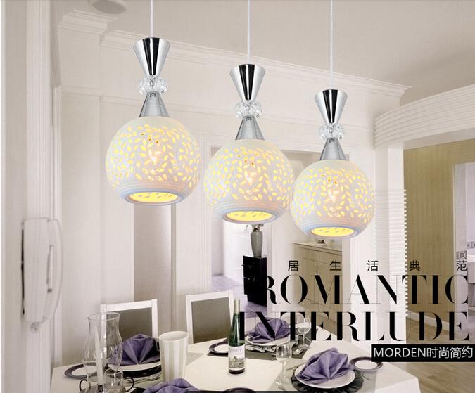 Led ceramic Crystal Single Head Simple Modern Restaurant Pendant Lights For Dining Room Modern Pendentes Pendant Lamp(China (Mainland))