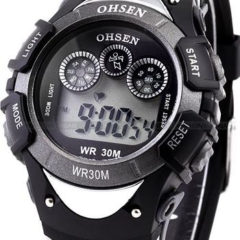 OHSEN Digital LCD 7 Color LED Backlight Date Alarm Stopwatch Rubber Band Men's Black Sport Wrist Children Digital Watch / OHS044
