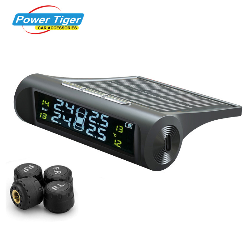 2017 New Solar Power TPMS Wireless Tire Pressure Monitoring System Car tyre pressure alarm System With LCD color display(China (Mainland))