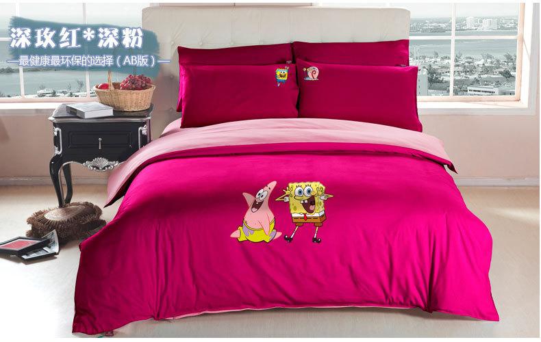 cartoon spongebob queen bed sheetskids girl pink duvet