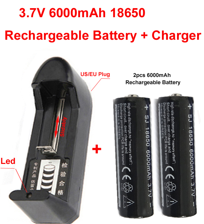3.7V 18650 6000mAh Rechargeable Battery +18650 chager for LED Flashlight 2*18650 batteyr +charger(China (Mainland))