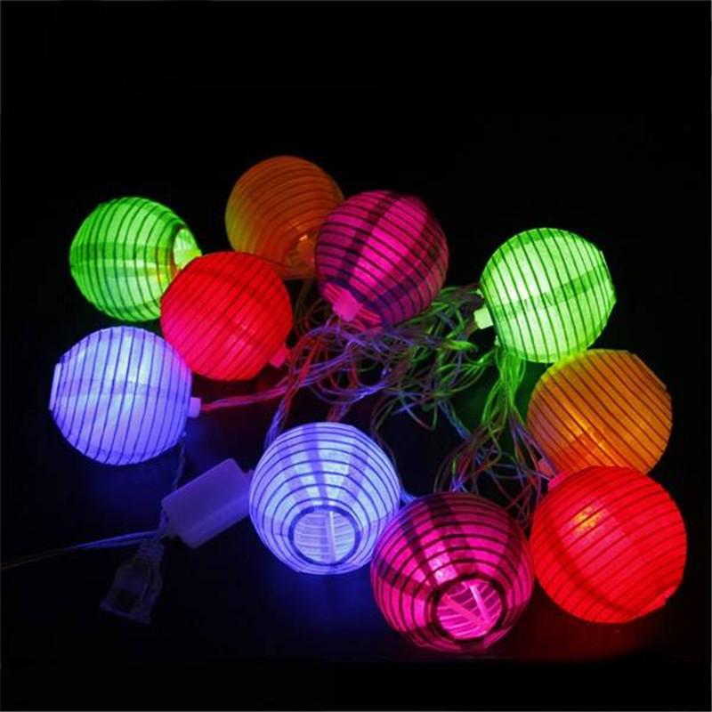 New Arrival 4M 10 LED Foldable Paper Lantern String Light For Festival Xmas Decoration 110V US Plug<br><br>Aliexpress