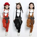 New Spring Autumn Kids Clothes Girls Clothing Sets Long Sleeve Bow Lace Children Outfits Casual Bib