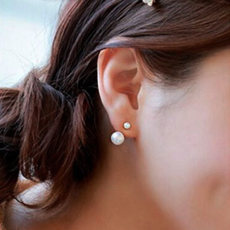 1 Pair Stylish Lovely Women Imitation Double Pearl Small Earrings Stud 2016 New Korean Style Famous Brand Ear Jewelry A00047 - KINS Girl Store store