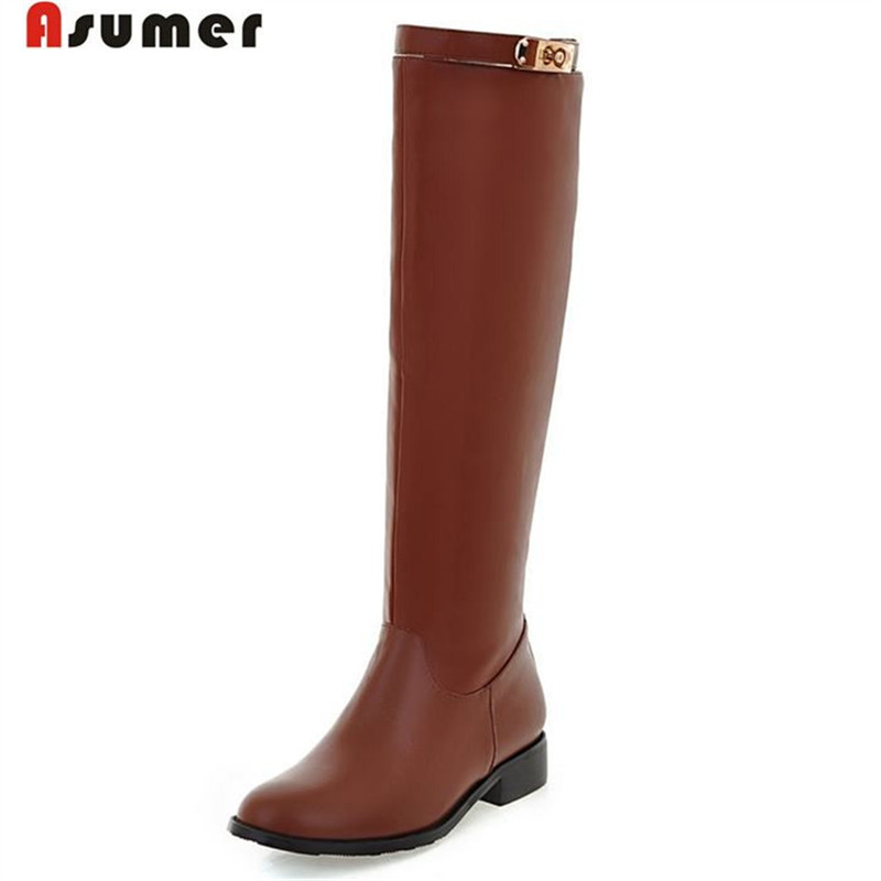 PLUS SIZE 2016 new brand fashion high quality soft leather knee high boots brown black buckle winter women motorcycle boots(China (Mainland))