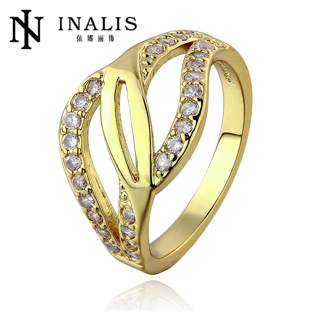 R662 Hot Sale 18k Gold Plated Series Jewelry Korean Austrian Crystal Rings For Couples, Beaded Rings Bijoux Women Bague Gift(China (Mainland))
