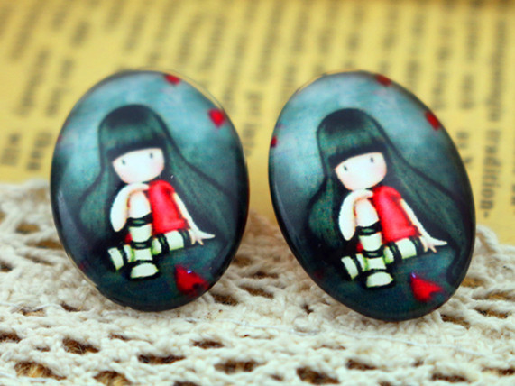 2015 Hot Sale 2pcs 18x25mm Handmade Photo Glass Cabochons (Sitting Girl) HO-2552 Free Shipping<br><br>Aliexpress