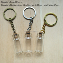 New Arrival 50 * Glass Bottle Pendant with Key Chain, Jewelry Bottle Pendant(China (Mainland))