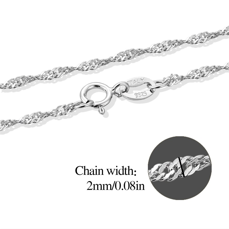 925 Sterling Silver Twisted Singapore Water-Wave Italy Chian Necklace Jewelry 16/18 Inches Link Jewelry For Women Girls Pendant(China (Mainland))