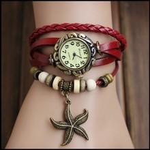 Envío gratis – la nueva vendimia del cuarzo mujeres se visten Watchs colgante estrellas de mar de cuero sintético reloj reloj de lujo