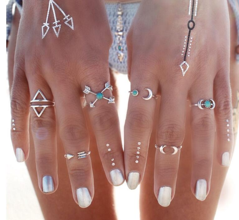 6PCS Cool Vintage Turkish Beach Punk Moon Arrow Ring Set Ethnic Carved Silver Color Boho Midi Finger Ring Knuckle Charm anelli(China (Mainland))