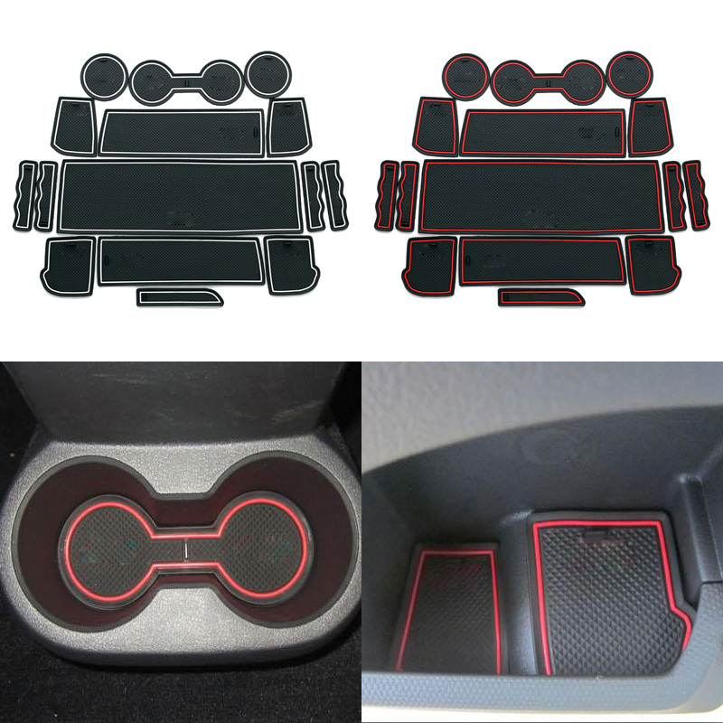 New Car Styling 15Pcs/Lot For Jeep Patriot 2013 2014 Latex Waterproof Anti Slip Gate Slot Pad Anti-slip Mats Free Shipping(China (Mainland))