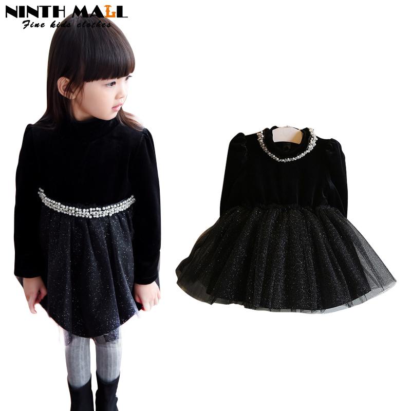 Fashion Winter Baby Girl Dress Fleece Lining Children Girl Clothes Sequins Lace Black Princess Tutu Dress Vetement Fille D-62(China (Mainland))