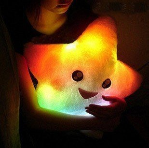 free shipping! 1pc/lot start led colorful Hold pillow nightlight pillow lovely gift girl's toy love heart Hold pillow