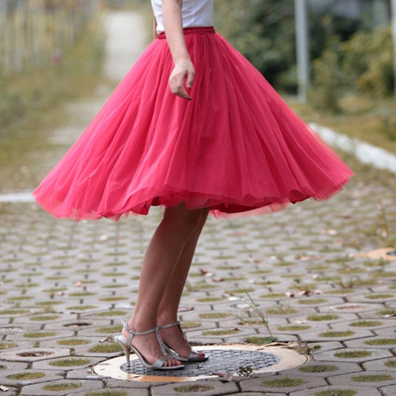 Custom Made 7 Layers Summer Women Fairy Princess Tulle Tutu Skirt Sundress 2016 High Waist Tutu Skirts Princess Fluffy Pleated(China (Mainland))