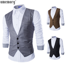 Plus Size XL Vest Men 2015 Autumn Slim Brand Men's Slim Fit Dress Suit Vest Waistcoats Men Gilet Colete Fashion chaleco Hombre