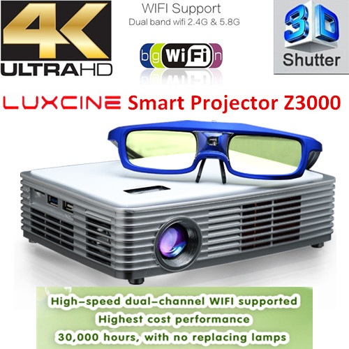 Luxcine Latest Portable Mini LED DLP Projector Z3000 4K UHD Image Quality Proyector Home Theater Beamer Multimedia Projecktor(China (Mainland))