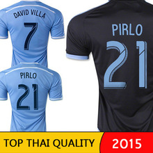 NYCFC 2015 New York City FC Soccer Jersey PIRLO 2115 16 DAVID VILLA LAMPARD Home Sky Blue Away Black New York City JERSEYS(China (Mainland))