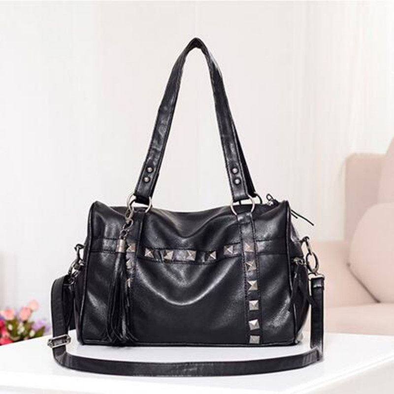 Fashion Women Handbags Rock Style Rivet Tassel Shoulder Bag Cool Punk Black Motorcycle Bag ZXL-74(China (Mainland))