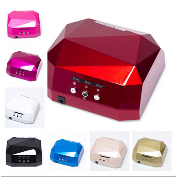 Free Shipping 36W LED uv Lamp Diamond Shaped Long Life nail dryer CCFL Curing for UV Gel nail Polish nail art tools(China (Mainland))