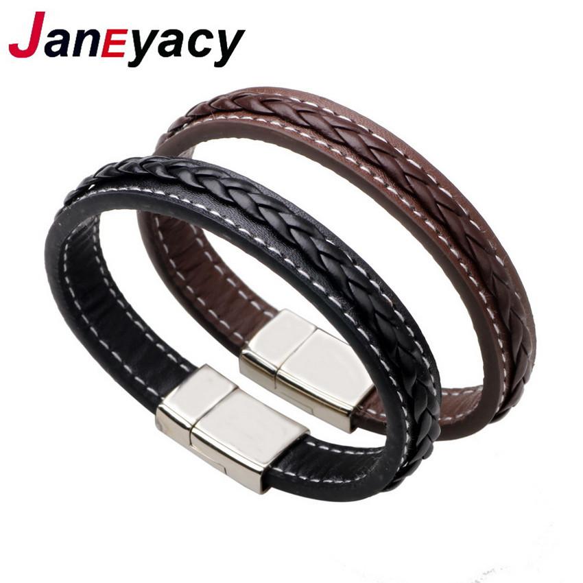 HOT Top Genuine Leather Bracelet Men Stainless Steel Leather Braid Bracelet Magnetic Buckle Clasp Man bracelet