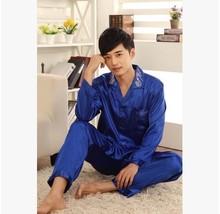 Men's Silk  Satin Pajamas Spring And Autumn Mens Pyjamas Long Sleeve Sleepwear Luxurious Men Lounge Pajamas Set Plus Size XXXL(China (Mainland))