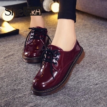High quality hot sale 2015 new style women casual lace up autumn spring  black color zapatos mujer  oxfords shoes flats(China (Mainland))