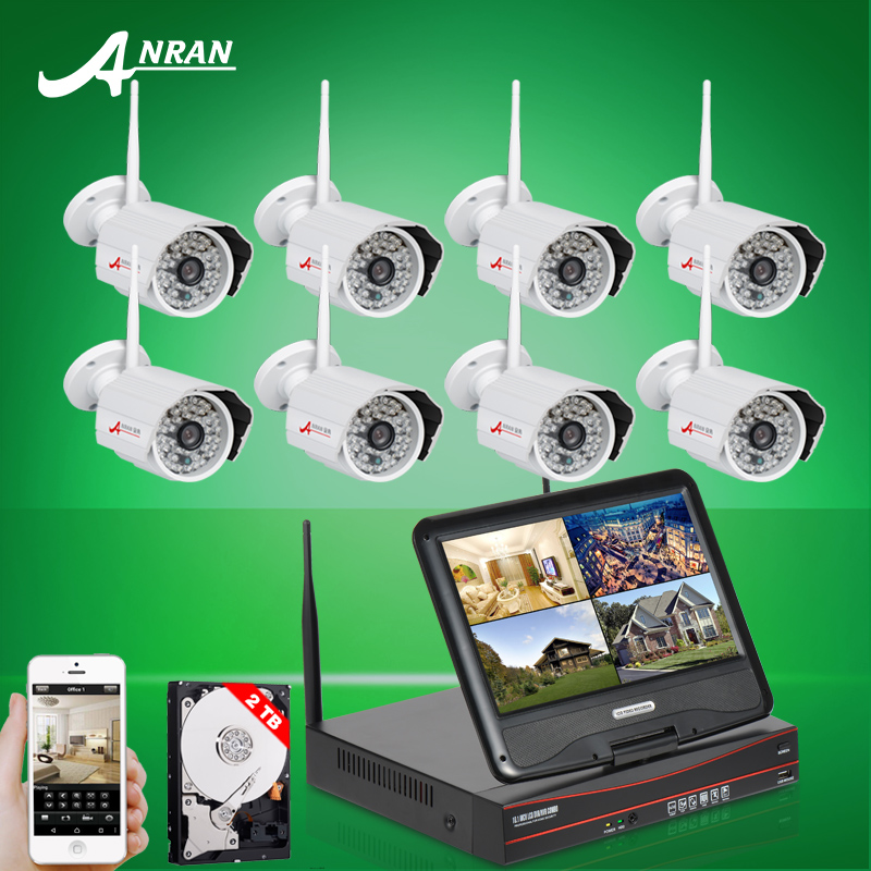 "2TB HDD 8CH 10""LCD NVR Wireless Security System P2P 720P IP Camera WIFI HD H.264 Outdoor IR Night Vison Home Surveillance Kit(China (Mainland))"
