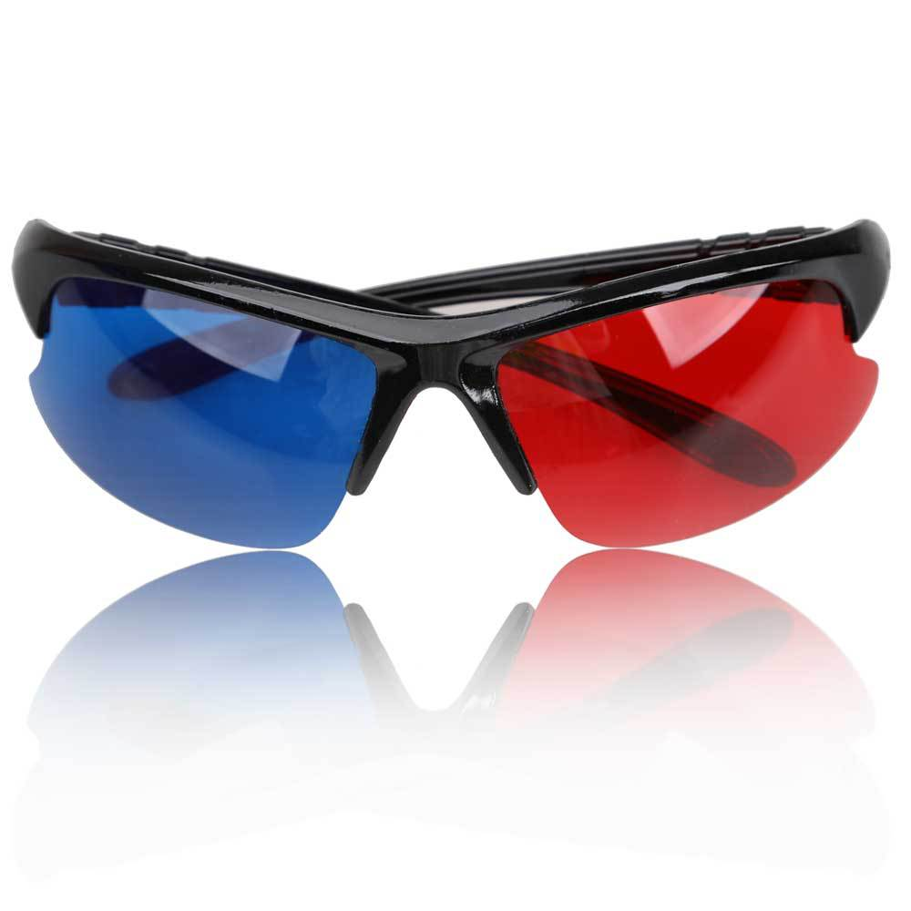 Red Blue Plasma TV Movie 3D Glasses Dimensional Anaglyph Half-frame 3D Vision Glasses E#CH(China (Mainland))