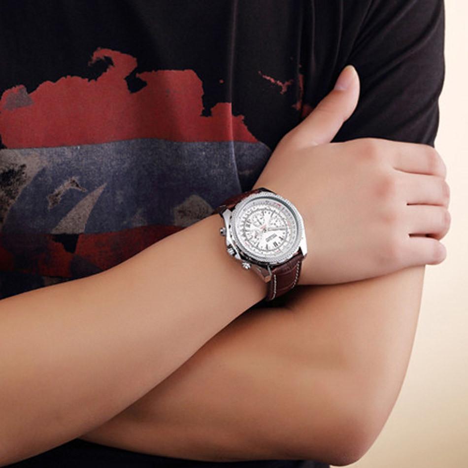 MEGIR Бренд Мужской Спорт Случайные Мужские Часы Кожаный Ремешок Кварцевые Мода Военный Хронограф Часы Часы Relogio