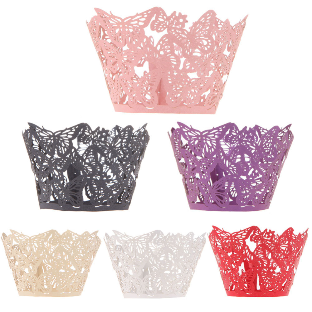 12 Pieces/Lot Fashion Butterfly Hollowed-out Flat Cookie Cupcake Wrappers Wedding Party Decoration Wedding Supplies Cake Topper(China (Mainland))