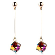 Fashion fine jewelry big earrings with stones multicolor large long drop crystal red jewelry dangle earrings Brincos(China (Mainland))