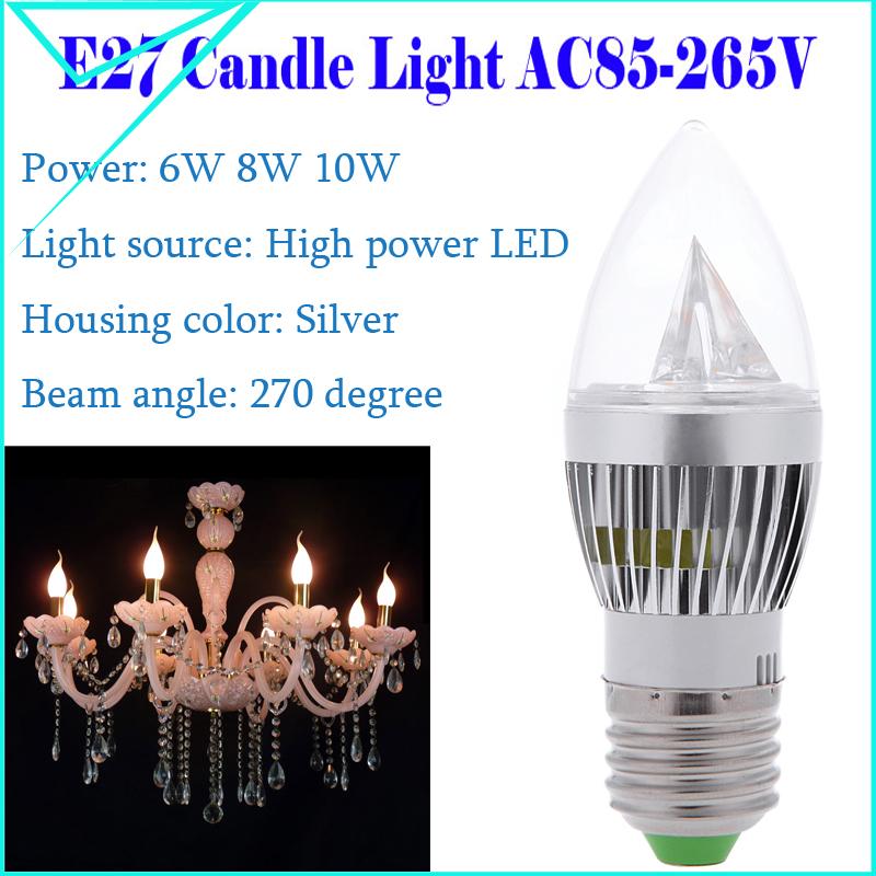 Brand E27 Led Lamps AC85-265V 6W 8W 10W LED Lights Spotlight Led Bulb High Power Christmas Chandelier Candle Lighting 1PCS/Lot(China (Mainland))