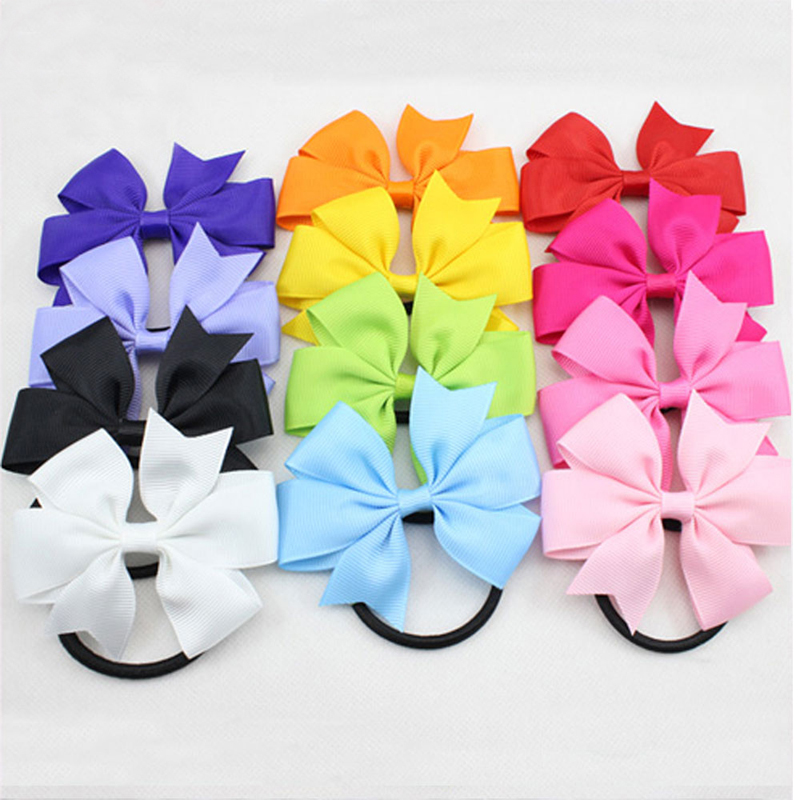2016 New Arrival Ribbon Elastic Hair Bands Rope Baby Girls Bow Ponytail Holder Kids Hair Accessories(China (Mainland))