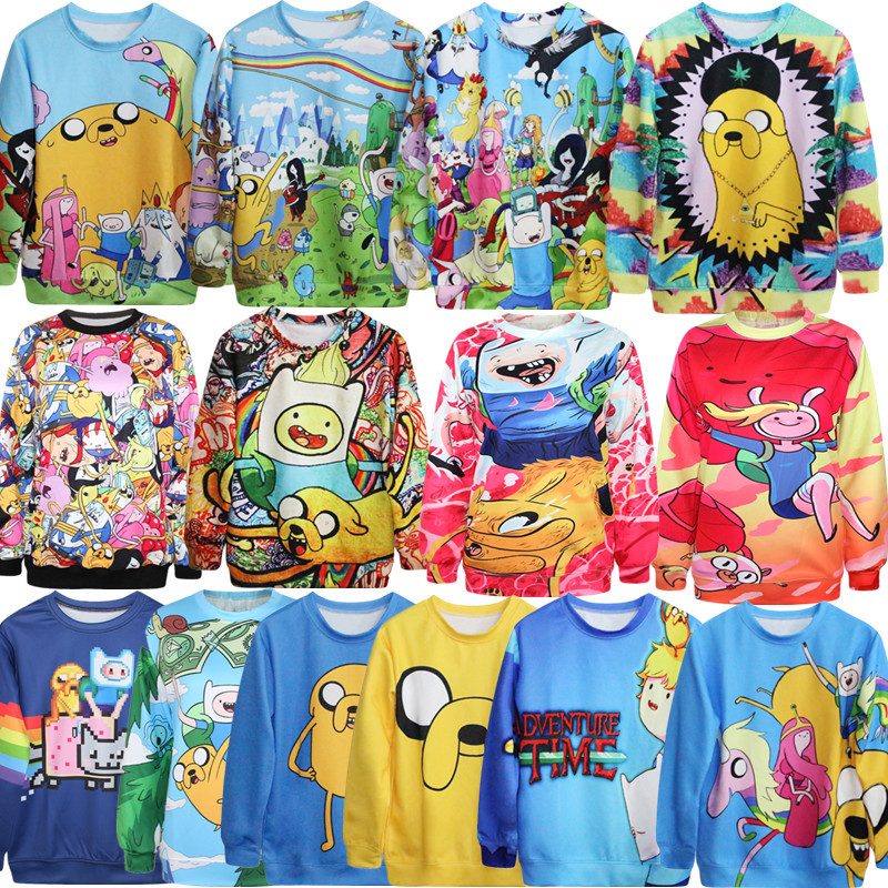 Woman adventure time sweatshirt female long sleeves O-neck Spring & Autumn 3d print shirt hora de aventura women's clothing 007(China (Mainland))