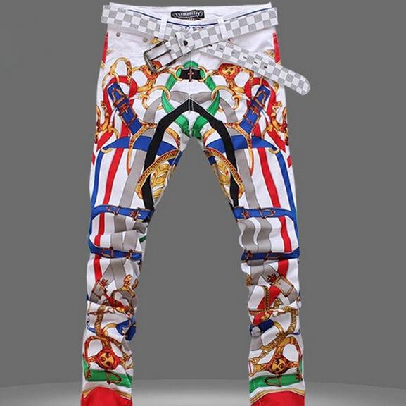 2015 New Printed Denim Overalls Men Jeans Skinny Mens Jeans True Religious Cal Brand Jeans Men(China (Mainland))