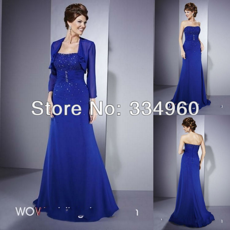 Dress mother wedding plus size 2013 with 3 4 sleeve jacket for Royal blue plus size wedding dresses
