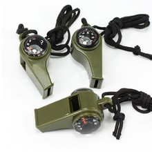 3 in 1 Portable Outdoor Emergency Survival Gear Whistle Compass Thermometer Free Shipping